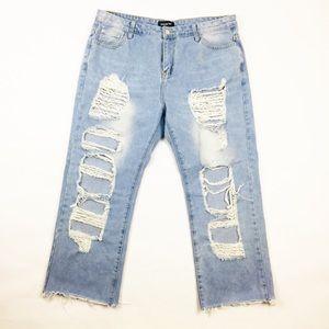 Women's Fashion Nova Ripped Boyfriend Jeans